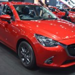 Mazda2 sedan front three quarters at 2017 Bangkok International Motor Show