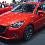Mazda2 sedan front three quarters left side at 2017 Bangkok International Motor Show