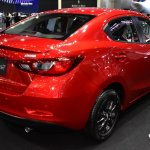 Mazda2 sedan rear three quarters at 2017 Bangkok International Motor Show