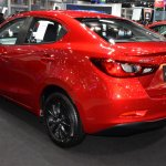 Mazda2 sedan rear three quarters left side at 2017 Bangkok International Motor Show