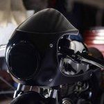 Royal Enfield Continental GT custom fairing front view black