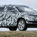 Skoda Karoq front three quarters camouflaged