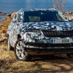 Skoda Karoq front three quarters right side camouflaged
