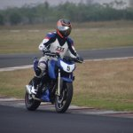 TVS Apache RTR 200 track experience at MMRT front three quarter motion