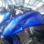 TVS Apache RTR 200 track experience at MMRT fuel tank view left