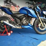 TVS Apache RTR 200 track experience at MMRT side view right