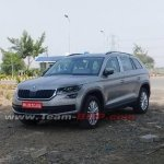 Indian-spec Skoda Kodiaq front three quarters spy shot