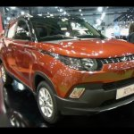 Mahindra KUV100 LHD-spec front quarter showcased at Automobile Barcelona