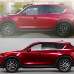 Mazda CX-8 vs. Mazda CX-5 profile spy shot