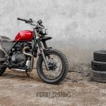 Royal Enfield Himalayan Scrambler by Grid7 Customs front three quarter