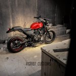 Royal Enfield Himalayan Scrambler by Grid7 Customs rear three quarter