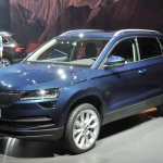 Skoda Karoq front three quarters blue