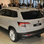 Skoda Karoq rear three quarters elevated view