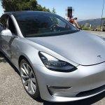 Tesla Model 3 front three quarters spy shot