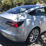 Tesla Model 3 rear three quarters spy shot
