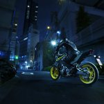 2018 Yamaha MT-03 Europe motion fluorescent rear three quarter