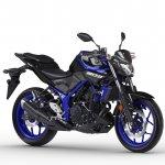 2018 Yamaha MT-03 Europe studio blue front three quarter