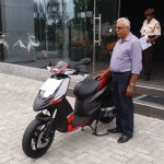 Aprilia SR150 launch Sri Lanka side front three quarter