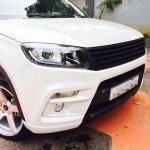 Custom Maruti Vitara Brezza with dual tone white and black exterior front end