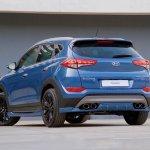 Hyundai Tucson Sport blue rear three quarters