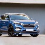Hyundai Tucson Sport front three quarters blue