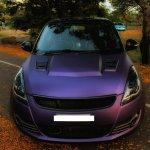 Maruti Swift matte purple wrap and sporty body kit front