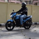 TVS Victor review motion front three quarter