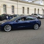 Tesla Model 3 blue left side spy shot