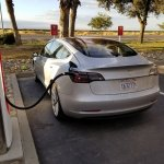 Tesla Model 3 charging second spy shot