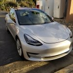 Tesla Model 3 front three quarters spy shot