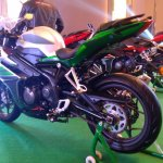 DSK Benelli 302R Silver Verde rear three quarters