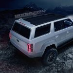 Ford Bronco 4-door rear three quarters elevated view rendering fifth image