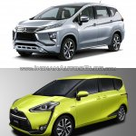 Mitsubishi Expander vs. Toyota Sienta front three quarters