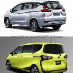 Mitsubishi Expander vs. Toyota Sienta rear three quarters