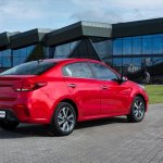 Russian-spec 2017 Kia Rio sedan rear three quarters