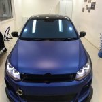 VW Polo with sports body kit and matte blue wrap front