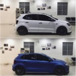 VW Polo with sports body kit and matte blue wrap side
