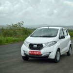 Datsun redi-GO 1.0 Review white front tracking shot