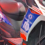 Aprilia SR150 side sticker with Chelsea livery at Nepal Auto Show 2017