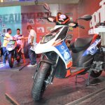 Aprilia SR150 with Chelsea livery front three quarters at Nepal Auto Show 2017