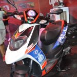 Aprilia SR150 with Chelsea livery up close at Nepal Auto Show 2017