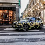 Camouflaged BMW X2 side snapped Milano Fashion Show