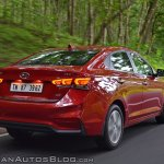 Hyundai Verna 2017 test drive review rear three quarters action shot