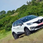 Renault Captur test drive review front three quarters angle shot