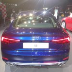 2017 Audi S5 Sportback blue rear elevated view