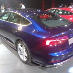 2017 Audi S5 Sportback blue rear three quarters left side elevated view