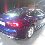 2017 Audi S5 Sportback blue rear three quarters right side elevated view