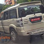 2017 Mahindra Scorpio facelift spied with minimal camouflage
