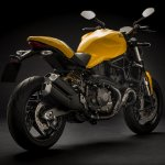 2018 Ducati Monster 821 Yellow press rear right quarter