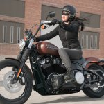 2018 Harley Davidson Street Bob press front left quarter action